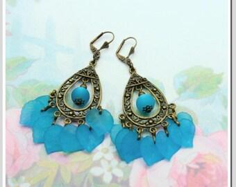 Earrings with Polarisperle and acrylic leaves Blue OHD-bro-001