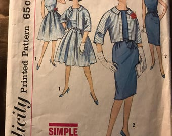 Vintage 60s Simplicity 4410 Dress and Suit Pattern-Size 12 (32-25-34)