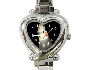 Cockatiel Bird Ladies Women's Heart Italian Watch