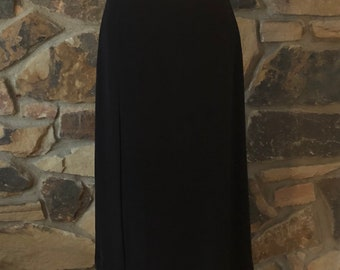 Vintage 1980s/90s Emporio Armani Long Black Single Pleat Skirt, Size 40/6 US, Made in Italy