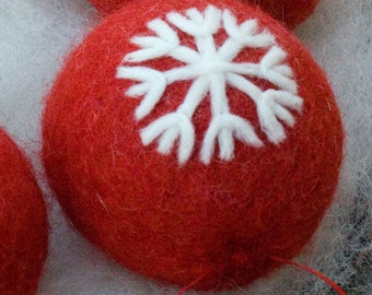 Needle Felted Ornament Red With Snowflake Design Tree Decoration Christmas Ornament Free Shipping