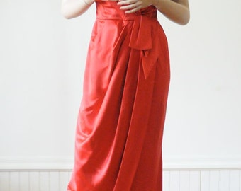 1950's RED Satin Gown Red Dress Hollywood in Lipstick Red Glamorous / Red Carpet / Old Hollywood Glamor