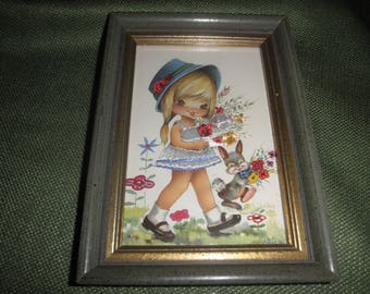 Big Eye Girl Embroidery Postcard in Frame by Nuco
