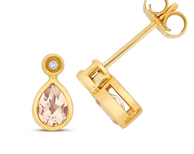 9ct Gold Diamond & Pear Cut 5x4mm Pink Morganite Stud Earrings