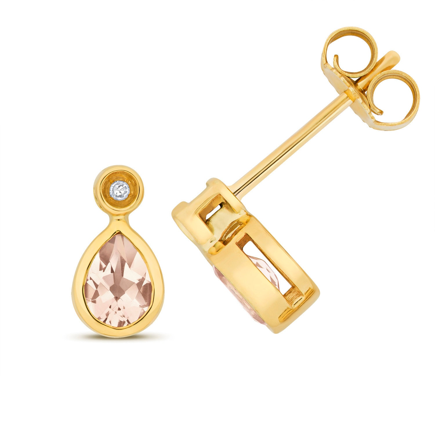 gold diamonds morganite rose in earrings stud with
