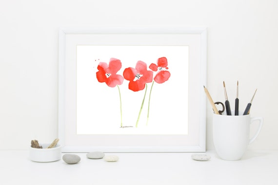 "Watercolor poppies art print: ""Poppy Garden"""