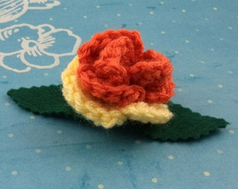 Crocheted Rose Hair Clip - Orange and Yellow (SWG-HC-MPAJ01)