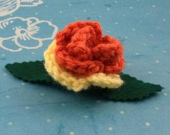 Pince à cheveux de Rose au crochet - Orange et jaune (GTS-HC-MPAJ01)