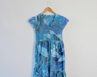 Blue Cotton Summer Dress      Blue Boho Sun Dress     Abstract Print Dress     Blue Folk Dress