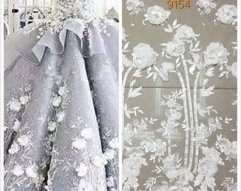 Fashion lace fabric off white beaded lace fabric with 3d flower elegent 3d lace fabric wedding embroidery lace bridal fabric