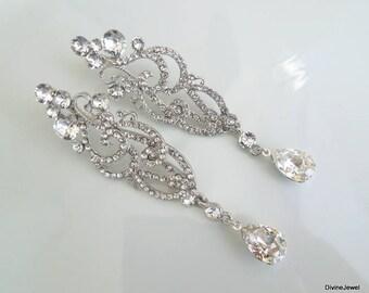 Bridal Earrings Swarovski earrings Chandelier Earrings Long Rhinestone Earrings Wedding Crystal Earrings Statement Bridal Earrings SCARLETT