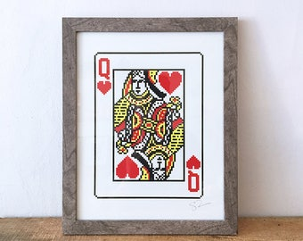 screen printed pixelated queen of hearts face card print