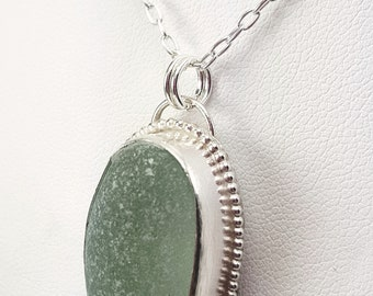 Sea Glass Necklace Aqua Sea Glass Pendant Sea Glass Jewelry Mothers Day Gift - N-636 Mothers Day Sale
