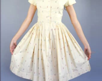 1950's Buttercup Gingham Day Dress | M