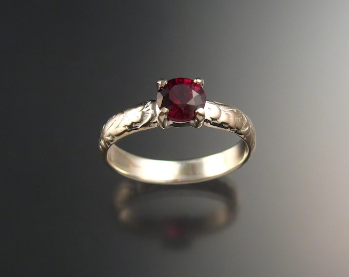 Garnet Wedding ring Sterling Silver Ruby substitute ring made to order in your size