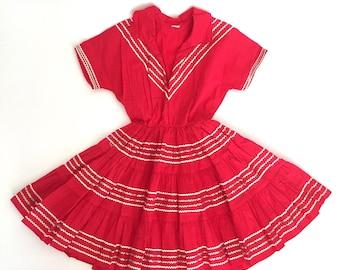 vintage 1950s dress | 50s child's southwestern patio dress
