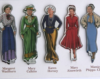 Set of 5 famous female Psychologist magnets