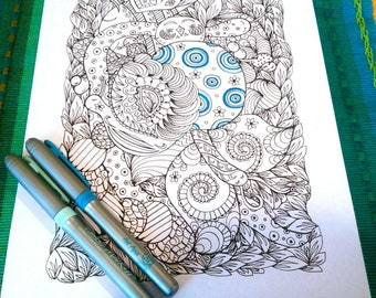 Adult Coloring Page Bug Garden Doodle Nature Design Printable Drawing Kids Art Activity Animal Puzzle