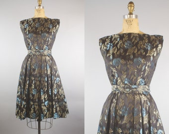 Silver Cloud Dress / 60s Party Dress / Vintage 1960s Metallic Floral Dress / Small