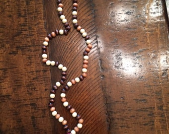 Wood Bead Necklace with Pink Tassel