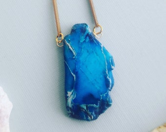 Simple Blue Agate Necklace