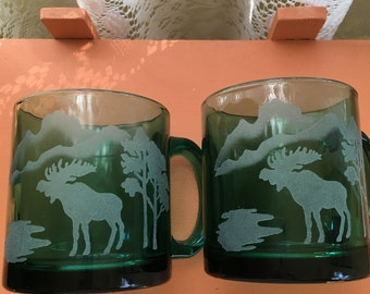 Vintage Blue Green Etched Glass Mugs Elk and Mountain Scene Made in the USA Rustic Cabin Decor Mancave Decor