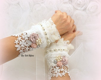 Fingerless Wedding Lace Gloves Ivory, Blush Pink Beaded Fingerless Gloves,Wedding Fingerless Gloves with Flowers,Ready To Ship