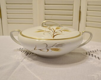 Vintage Noritake Wheaton 5414 Round Covered Serving Bowl White Gold Gray Wheat Design Discontinued Pattern PanchosPorch