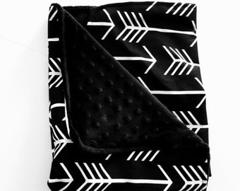Gorgeous Black Arrow Baby Blanket. Baby Lovey Black Arrow. Mini Blanket. Black White. Modern Baby. Baby Gift. BizyBelle