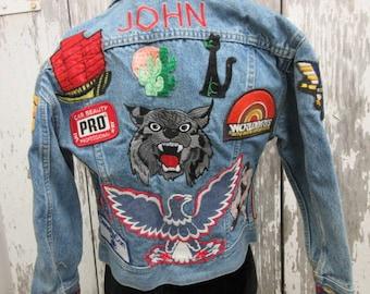 vintage denim jacket with patches, mens size SM or Med, vintage Lee jacket, distressed denim heavily patched, eagle patch, 80s vintage denim