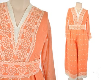 """60s jumpsuit / creamsicle wide leg jumpsuit / 1960s orange and white embroidered palazzo jumpsuit .. M/L 32"""" waist"""
