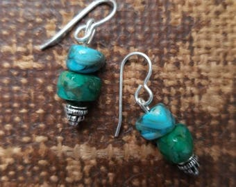 Green and Blue Turquoise Silver Dangle Earrings