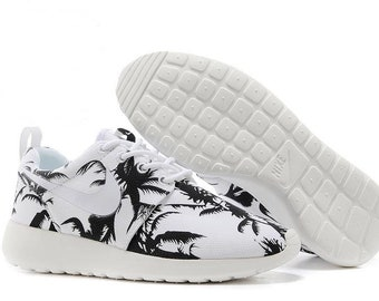 Custom Nike Roshe Run athletic running shoes with palm trees print