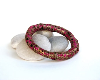 Magenta and Gold Sari Fabric Bangle Bracelet