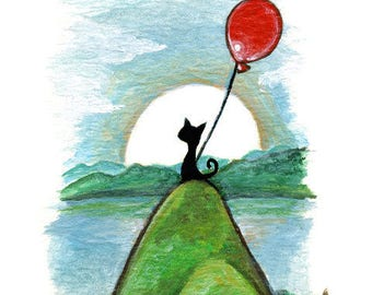Cat Print, Balloon Decor, Black Cat, Nursery Wall Art, Hill Art, Pet Loss, Memorial Gift, Animal Illustration, Cat Owner Gift