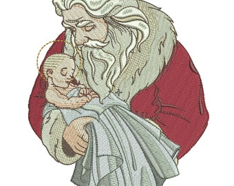 Santa Holding Jesus Christ Embroidery Design