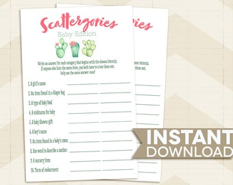 Scattergories BABY SHOWER game / Cactus Baby Shower game / succulents / desert / pink / green