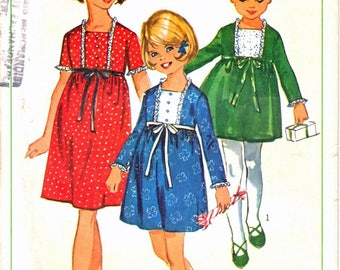 Simplicity 6603 Girl's Front Placket Dress, Square Neck Dress, Gathered Skirt Dress Sewing Pattern Size 6 Vintage 1960's