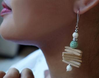 Wood Chandelier Earrings, Stone Earrings, Long Boho Earrings, 1 Pair