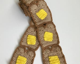 Ready to Ship Scarf, Buttered Toast Scarf, Foodie Scarf, Handmade Scarf, Crochet Scarf, Women's Accessories, tan/brown/yellow scarf.