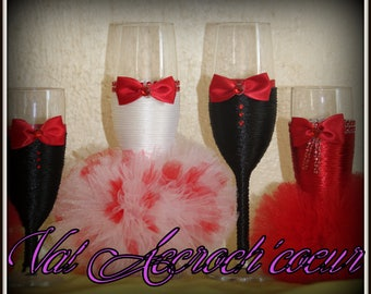 Pack red reserved for Kelly Devaux romantic champagne flutes