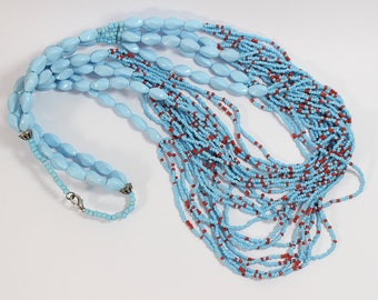 Multi Strand Glass Beaded Necklace Blue and Red Tribal Style Necklace