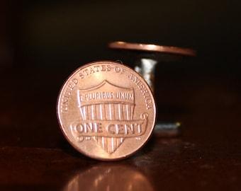 Modern Shield Penny Cuff Links, Cent Cufflinks
