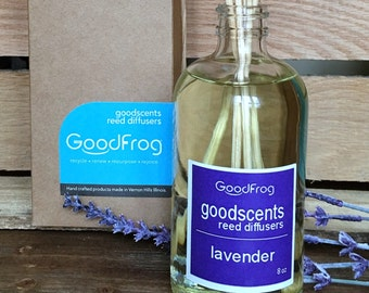 Lavender Reed Diffuser 8oz. Responsibly Harvested Rattan VOC's, DPG, and Phthalate FREE Infused w/Natural and Essential Oils