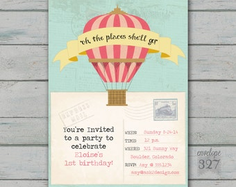 Hot Air Balloon or Travel Birthday Invitation