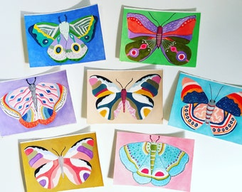 Moth and Butterfly Watercolor Paintings