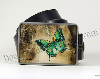 Belt Buckle Green Butterfly Belt Buckle with Hand Painted Accents Womens Belt Buckle Mothers Day Womens Belts Womens Gifts Birthday Gift