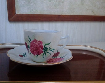 Vintage Royal Imperial China Teacup Set/Cup and Saucer set, Fine China, Pink/Red/Green/Gold Floral Pattern