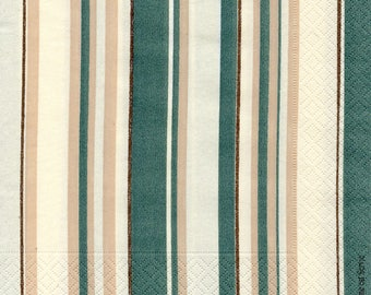 217 stripes green and ecru tones 1 lunch size paper towel