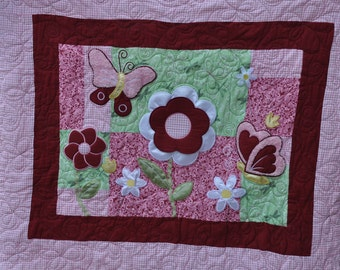Baby Blanket, Baby quilt, Girl, Baby bedding, Nursery Pink/burgundy baby girl quilt ,with flowers and butterfly, baby shower, Flowers